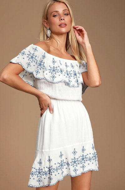 Layla Blue and White Ruffle Embroidered Skater Dress