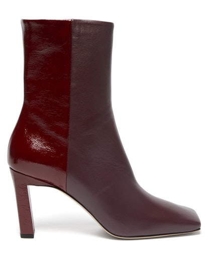 Isa Two-Tone Square-Toe Leather Boots