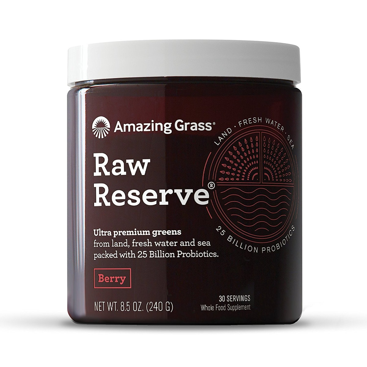 Amazing Grass Raw Reserve Green Superfood Powder, Berry, 30 Servings