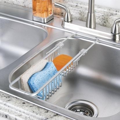 mDesign Modern Adjustable, Expandable Over Sink Sponge Holder Storage Center