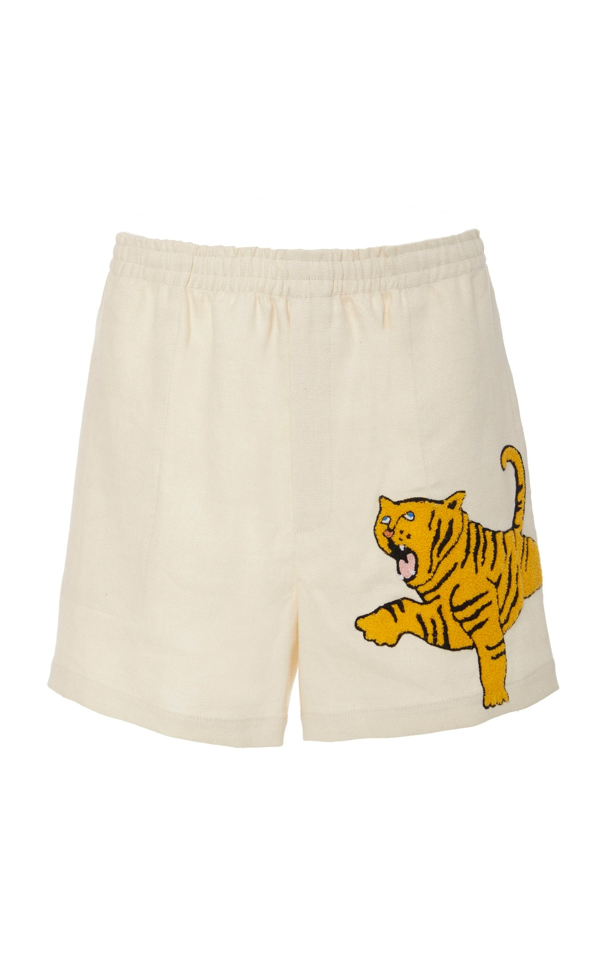 Embroidered Linen Rugby Shorts