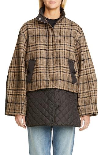 Plaid Tech Wool Blend Coat