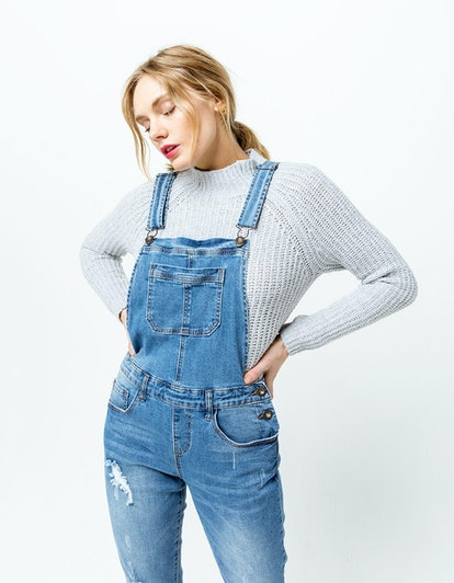 OTHERS FOLLOW Melanie Womens Ripped Denim Overalls