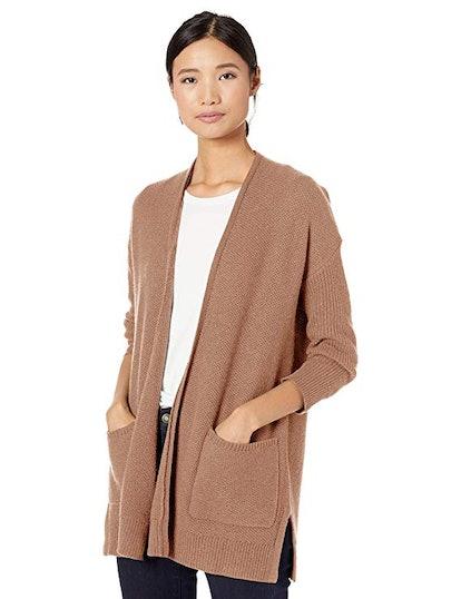 Goodthreads Women's Wool Blend 3/4-Sleeve Honeycomb Cocoon Sweater