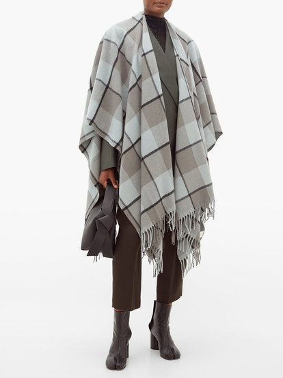 Cassiar Checked Wool Poncho