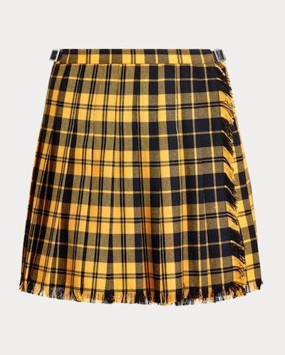 Pleated Wool-Blend Mini Skirt