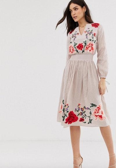 ASOS DESIGN Floral Embroidered Midi Dress