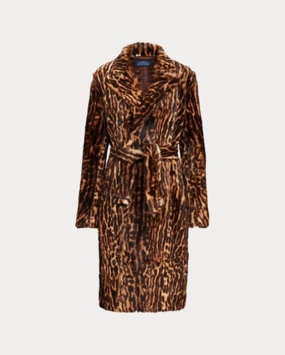 Leopard-Print Haircalf Coat