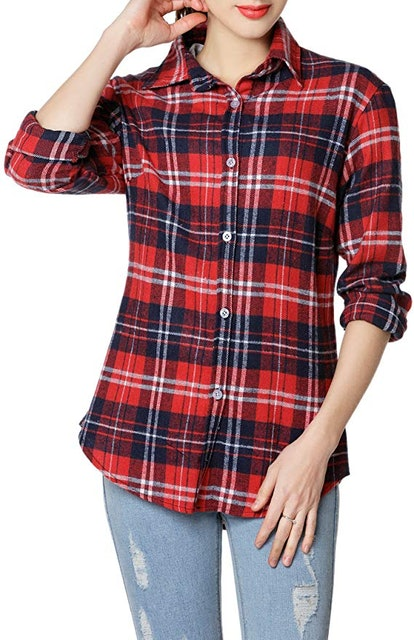 Women's Long Sleeve Casual Loose Classic Plaid Button