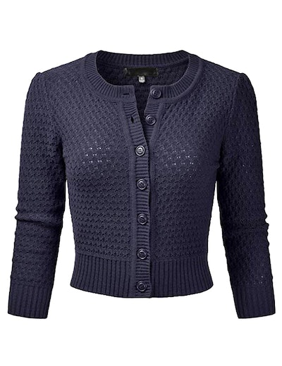 EIMIN Women's Crew-Neck Button Down 3/4 Sleeve Knit Cropped Cardigan Sweater