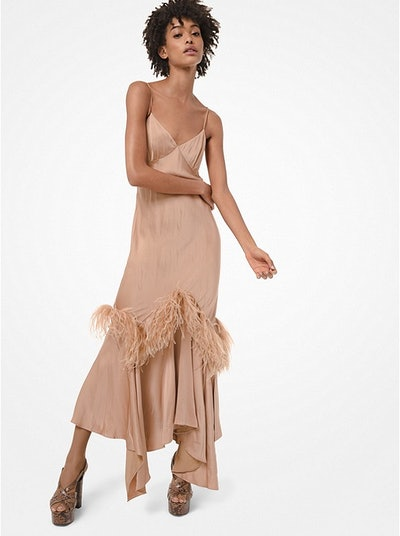 Feather-Embroidered Satin Charmeuse Handkerchief Slip Dress