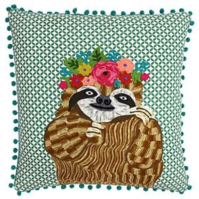 Paoletti Funky Sloth Embroidered Cushion