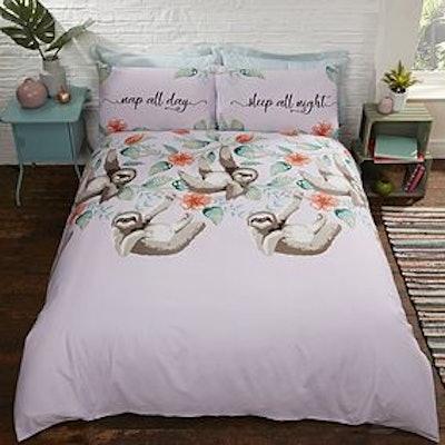 Rapport Home Sloths Purple Duvet Cover and Pillowcase Set