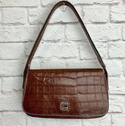 Vintage Croc-Embossed Shoulder Bag