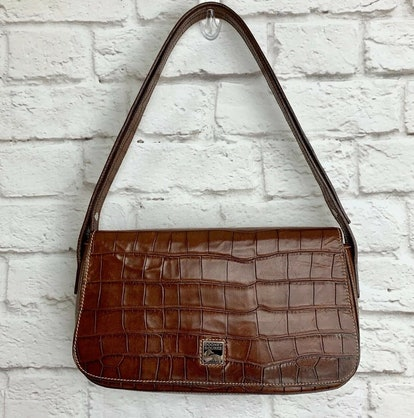 Vintage Croc-Embossed Shoulder Bag