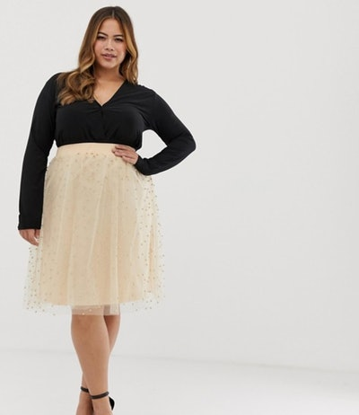 Club L Plus Stud Detail Tulle Skater Skirt