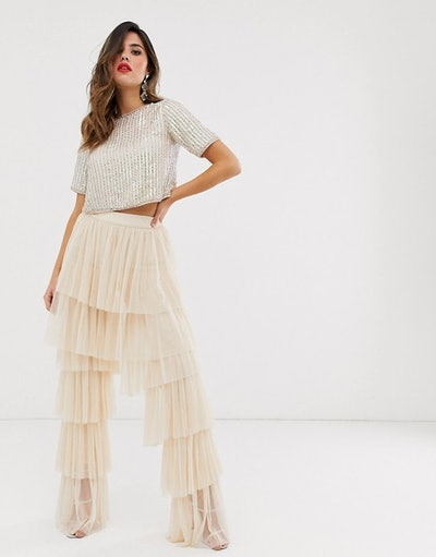 Lace & Beads Tiered Tulle Palazzo Trousers