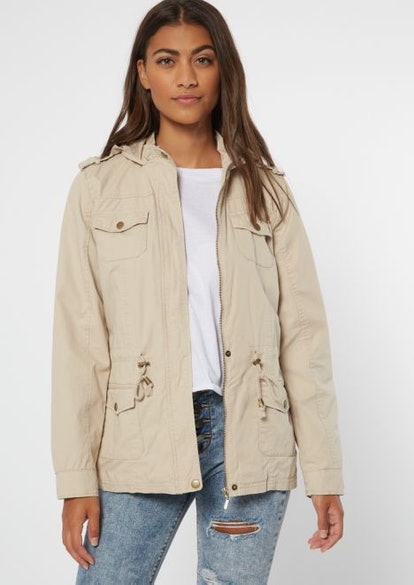 Khaki Zip Front Anorak Jacket
