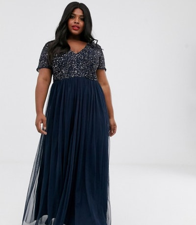 Maya Plus V Neck Maxi Tulle Dress