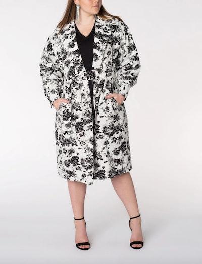 Elvi Premium Floral Print Trench Coat