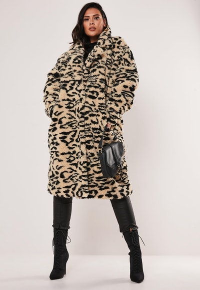 Plus Size Leopard Print Oversized Teddy Coat