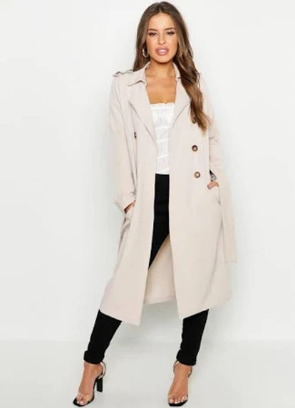Petite Utility Button Detail Trench Coat
