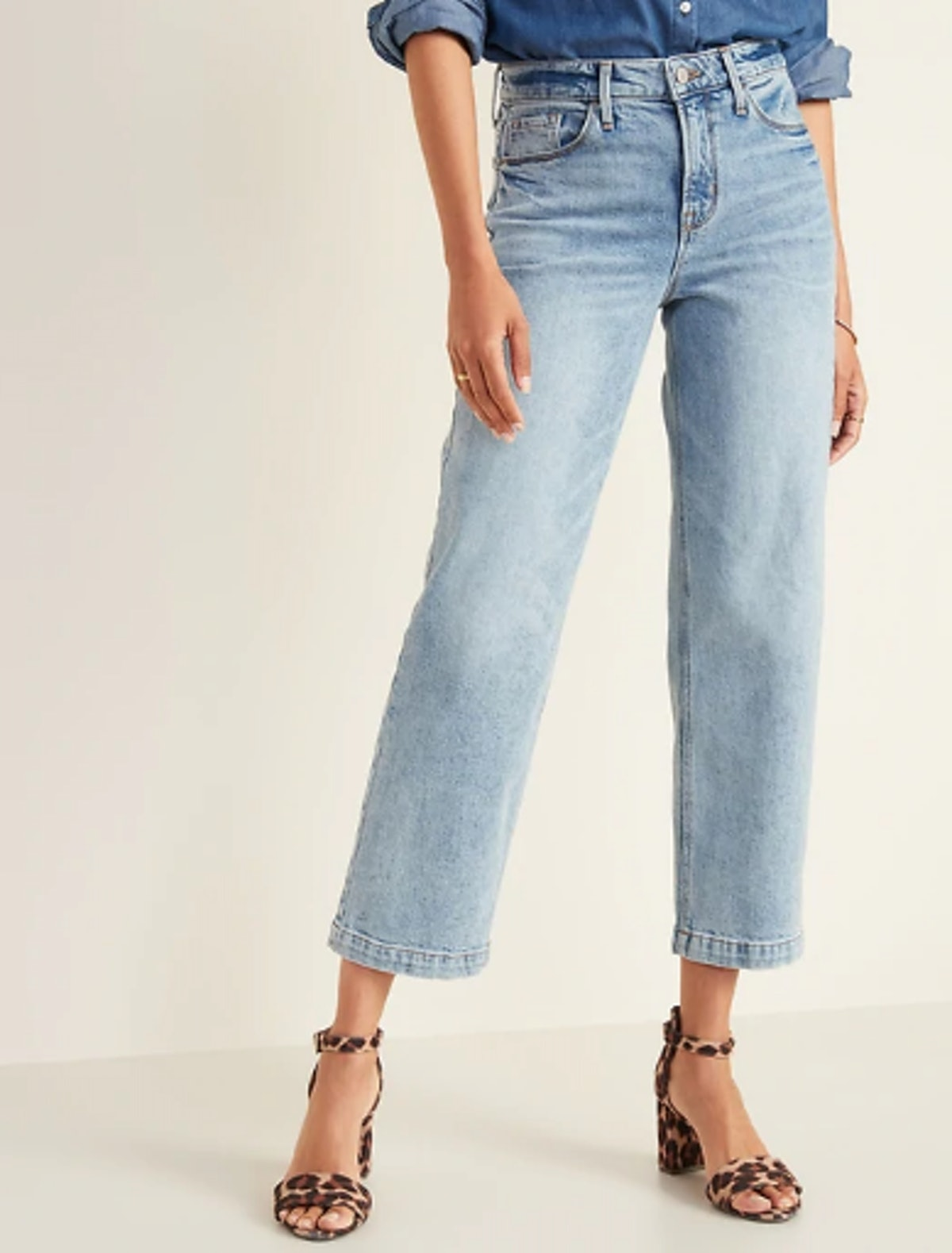 High-Waisted Light Stone-Washed Slim Wide-Leg Jeans For Women