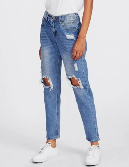 Ripped Knees Boyfriend Jeans