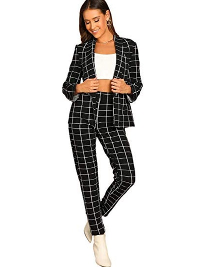SheIn Plaid Two-Piece Suit Set