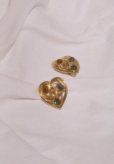 Vintage Gripoix Heart Earrings