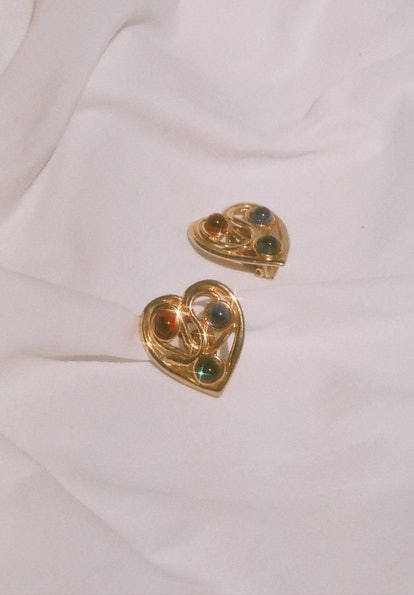 Vintage Gripoix Heart Earrings