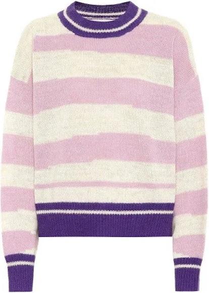 Étoile Isabel Marant Women's Purple Glowy Striped Alpaca-blend Sweater
