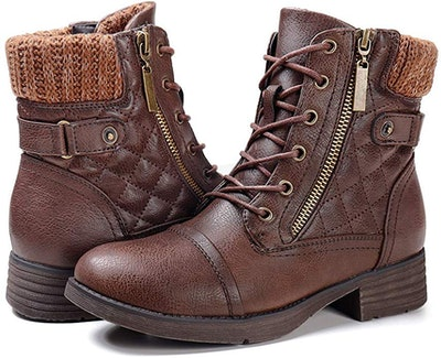 STQ Women's Combat Boots Lace-Up Ankle Booties
