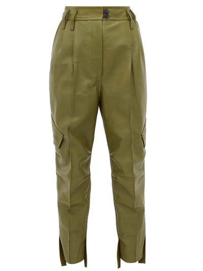 Hailey High-Rise Cropped Leather Trousers