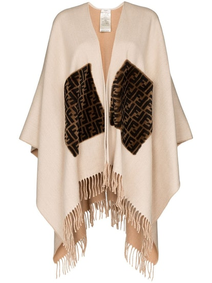 Fringed Logo Cashmere And Wool poncho