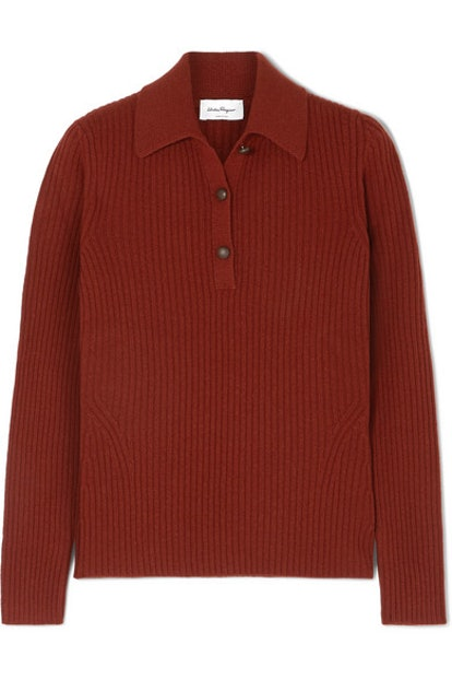 Button-Detailed Ribbed Wool And Cashmere-Blend Sweater