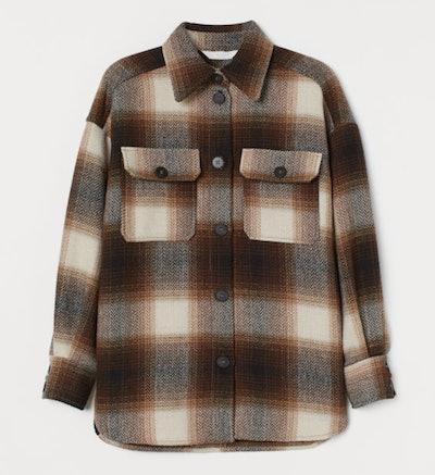 Herringbone Weave Shirt Jacket