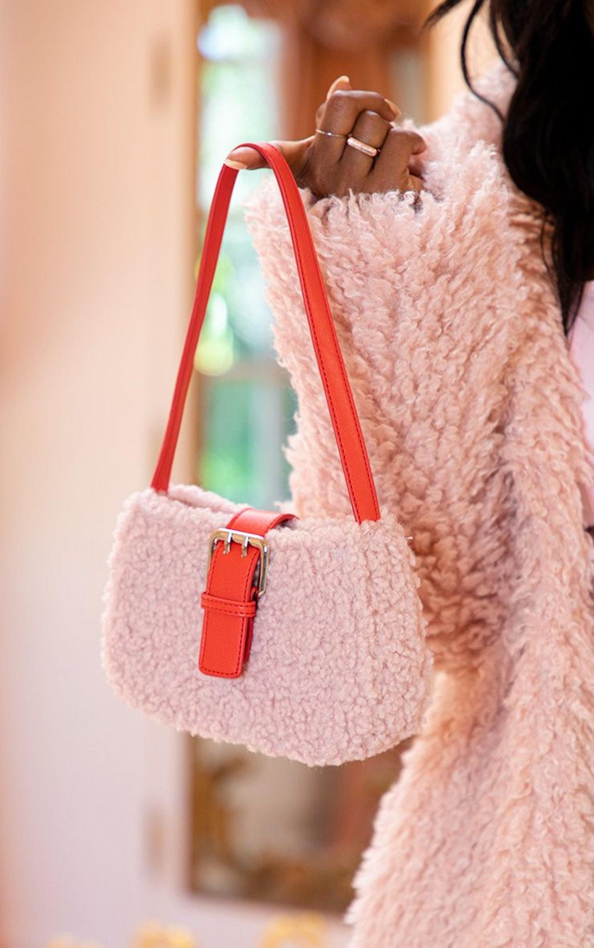 Pink Teddy Fur Red Buckle Shoulder Bag