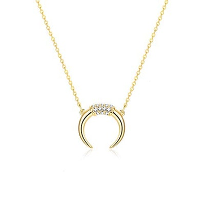 Fettero 14-Karat Gold Plated Moon Necklace
