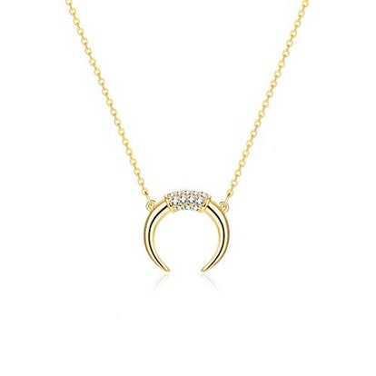 Fettero 14-Karat Gold Plated Moon Necklace