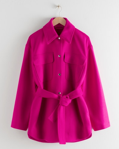 Wool Blend Belted Overshirt Jacket