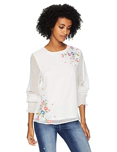 Serene Bohemian Embroidered Top
