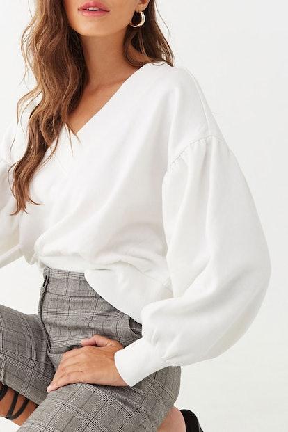 Fleece Balloon-Sleeve Sweater