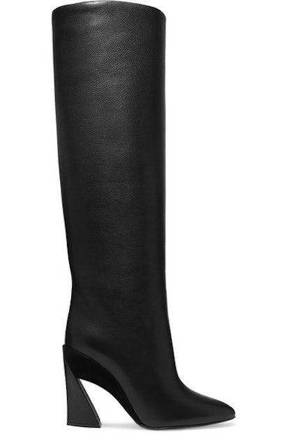 Antea Suede-Trimmed Textured-Leather Knee Boots