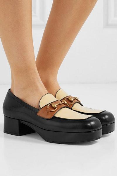 Horsebit-Detailed Leather Platform Loafers