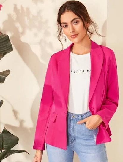 SHEIN Neon Pink Single Button Blazer