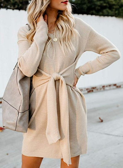 Bdcoco Tie Waist Sweater Dress