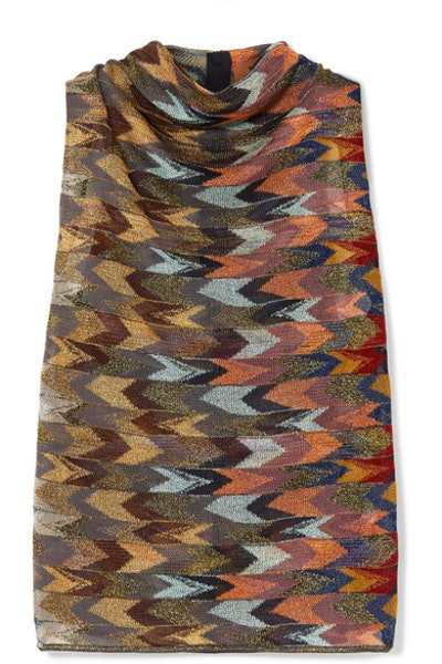 Draped Metallic Crochet-Knit Top