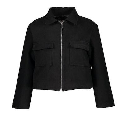 Plus Pocket Detail Wool Look Shacket