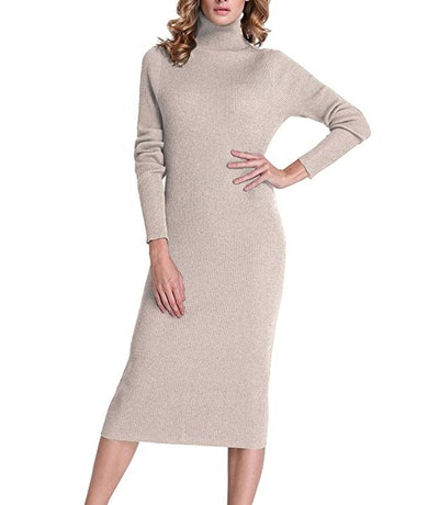 PrettyGuide Turtleneck Maxi Sweater Dress